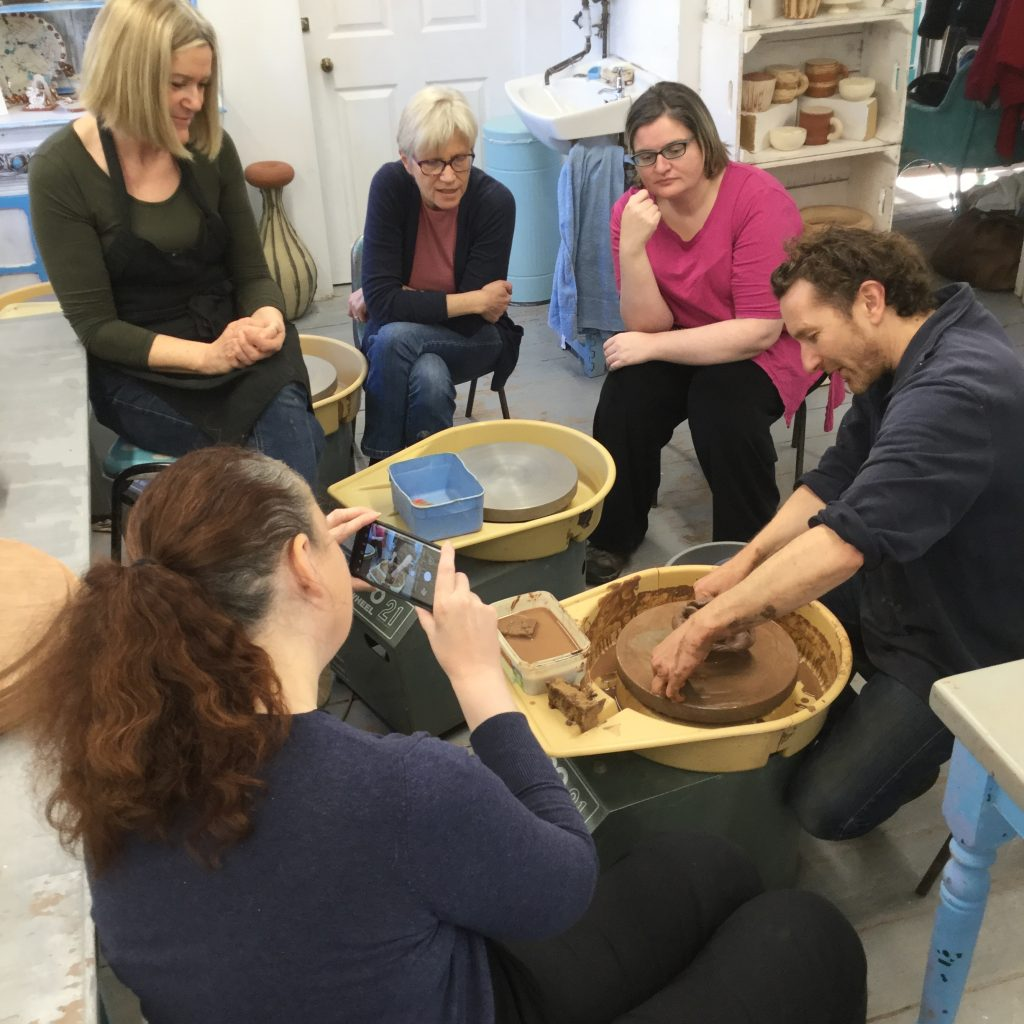 participants on a weekend pottery course at eastnor pottery in herefordshire