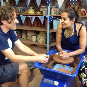 midlands today reporter satnam rana makes a pot on the potter's wheel at eastnor pottery