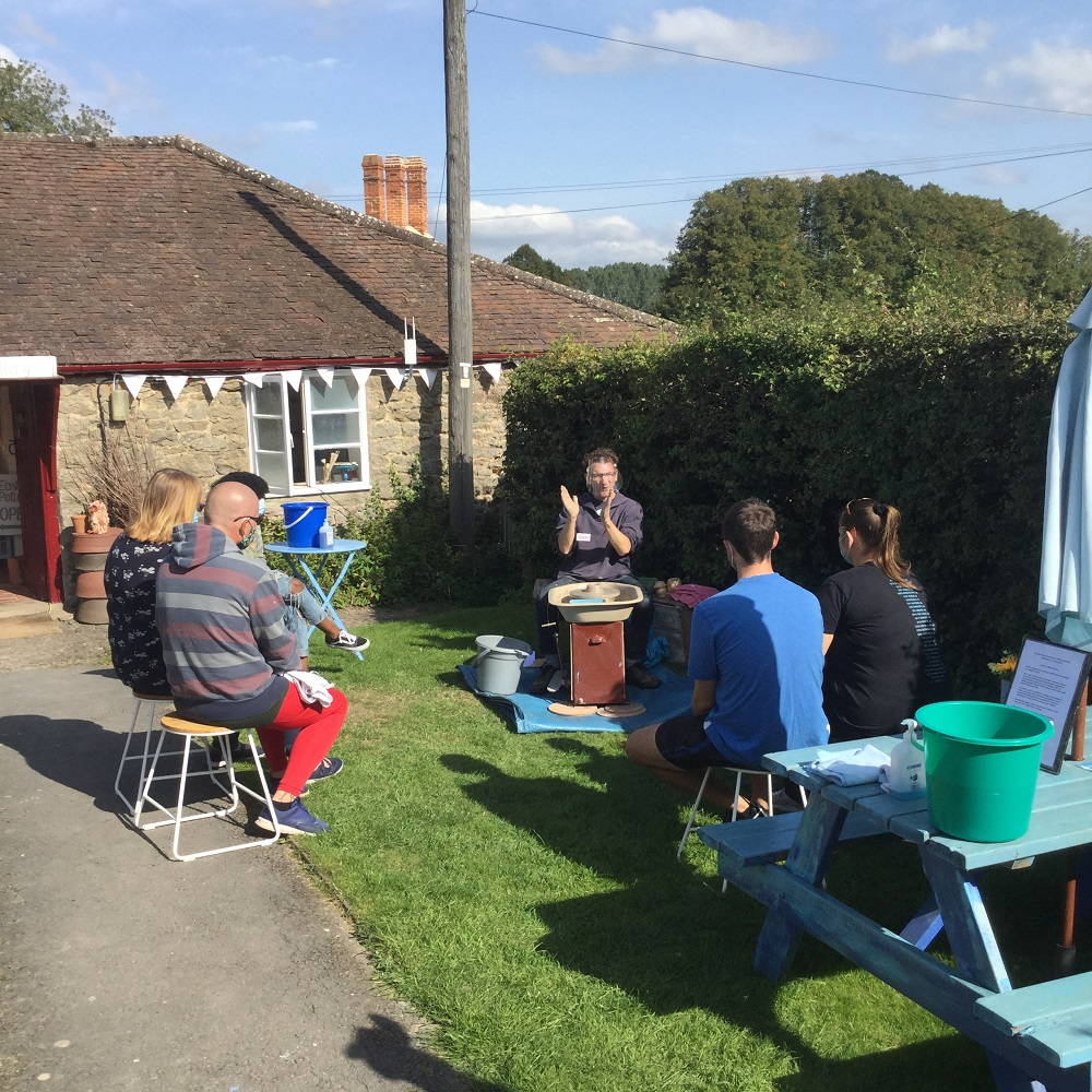 pottery classes in the garden at eastnor pottery in herefordshire