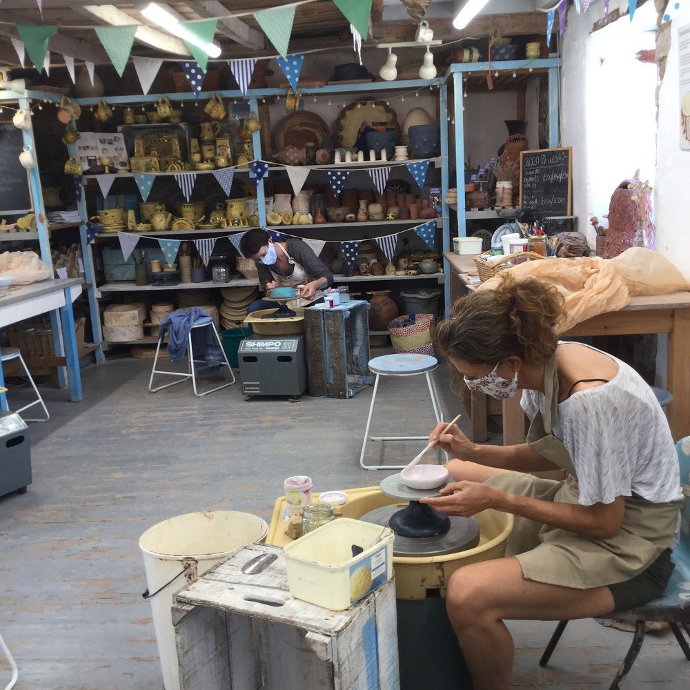 potter's wheel course at eastnor pottery in the 2020 covid-19 pandemic