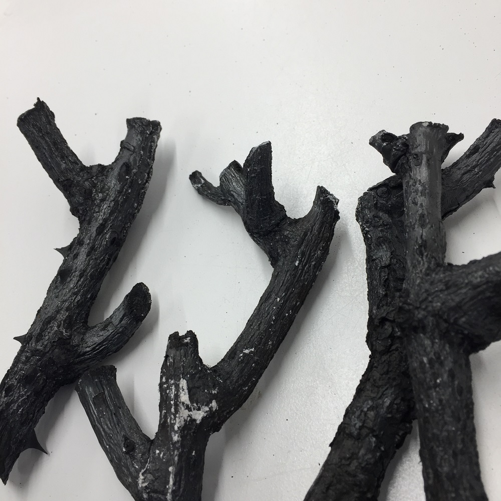 thorny charcoal sticks created by burning pruned rose bushes by herefordshire artist jon williams